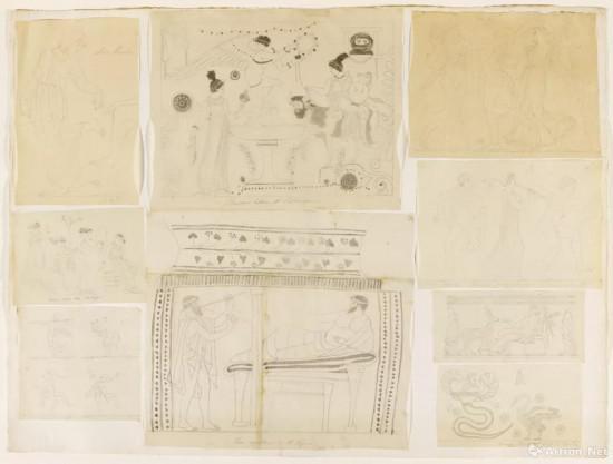 安格尔临摹的双耳爵纹饰 纸上石墨渲染 24.1 x 27.9厘米 安格尔遗赠,1867年