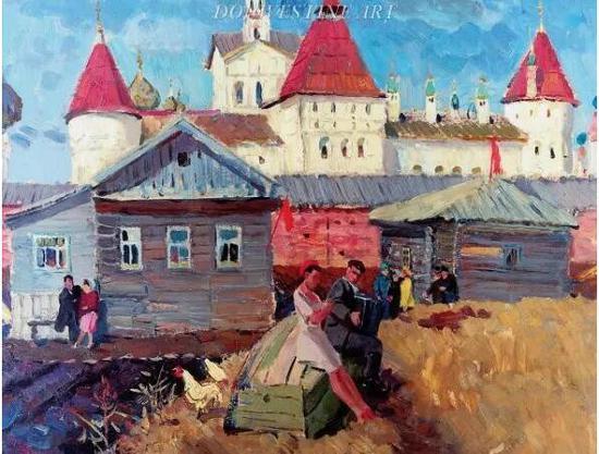 > 马克西莫夫绘画作品《罗斯托夫·维利基的金环城》(The Golden Ring city of Rostov Veliki)