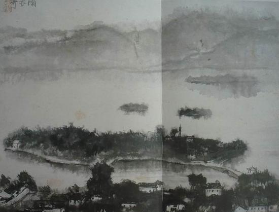 李可染,《雨亦奇》,44x59cm,1954年