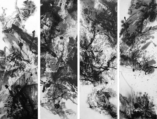 褶皱或展开(四联)丙烯油彩130×160cm 2014