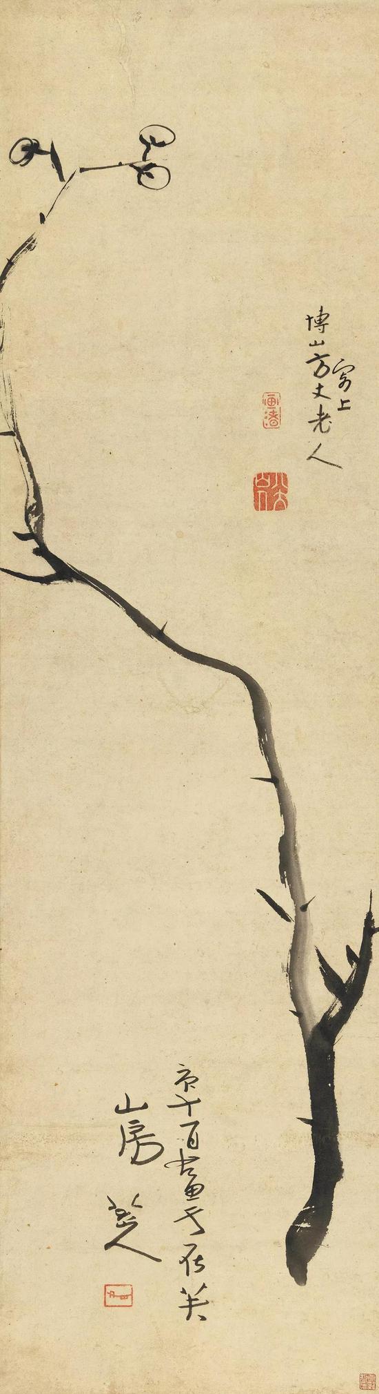 朱耷 墨梅图 立轴 水墨纸本125×34 cm 成交价:RMB 34,500,000