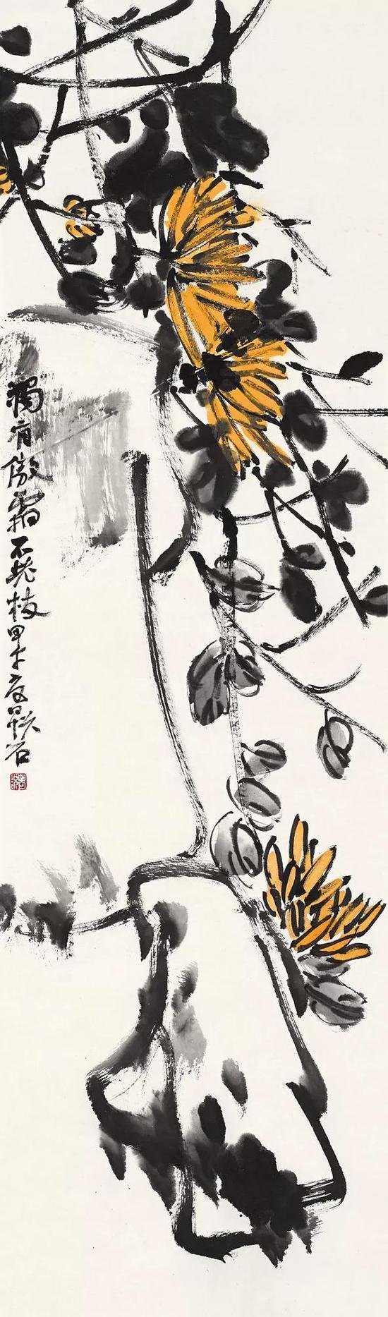 吴悦石 花鸟 119cm×35cm 纸本设色 2014年