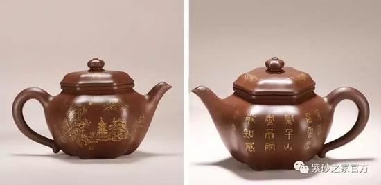 清中期 朱泥诗文山水六方莲子壶