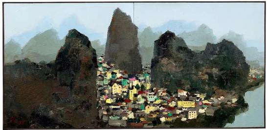 1977-1996 年作油彩木板(双联作)42.5 x 88 cm.HK$ 20,000,000 - 30,000,000