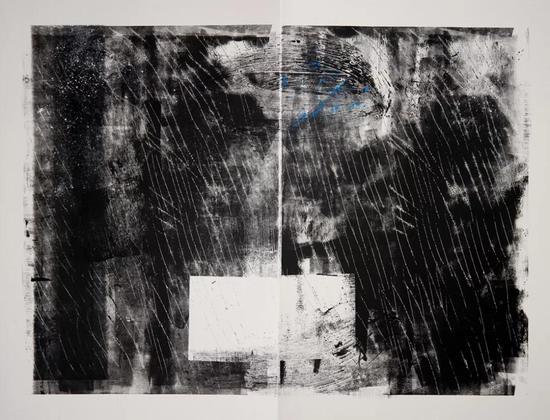 鲍蓓 Bao Pei 纽约的雨, 是流亡者的雨之二 Rain and Tear in New York City No.2 纸上综合材料 Mixed Media on Paper 132m x102cm 2014