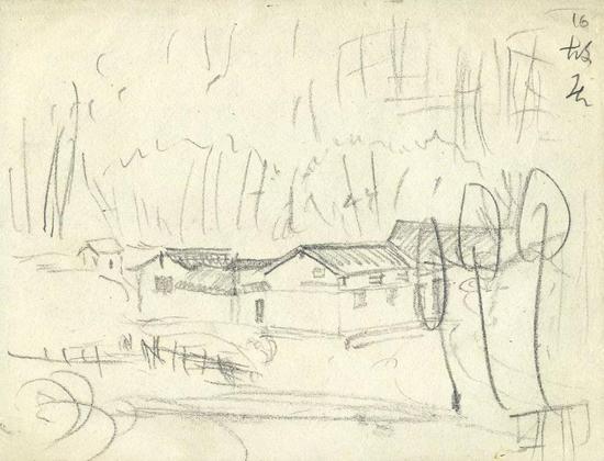 《毛泽东故居》画稿 铅笔17.1×22.4cm
