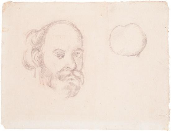 塞尚,《自画像和苹果》 1880-1884年