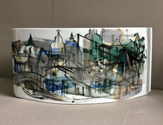 瓷绘作品《城市印记系列二》
