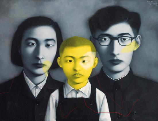 张晓刚《血缘――大家庭:全家福》布面油画
