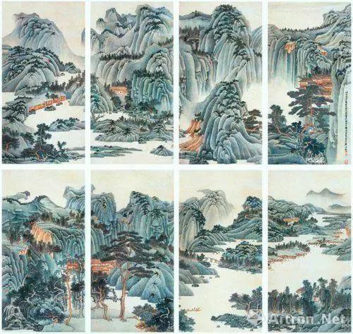 谢稚柳 1951年作 《江山多娇》 镜心165×656厘米×8