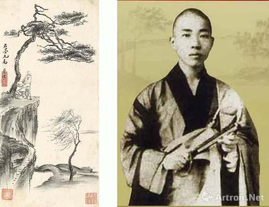 左图:《墨玅册》中的僧人形象右图:苏曼殊像