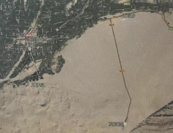 图3 敦煌市与敦煌石窟所在地三危山相对位置图