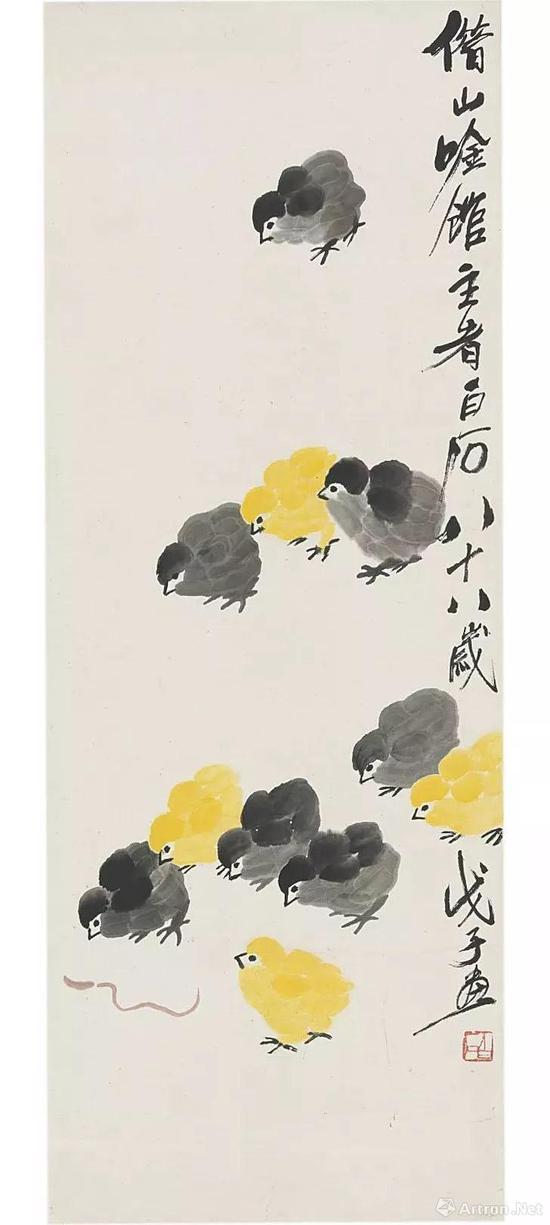 齐白石《雏鸡》 设色纸本 立轴 94.7 x 35.6 cm。