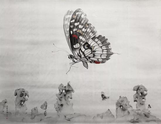 《踏雪寻梅》 绢本水墨 206x158cm