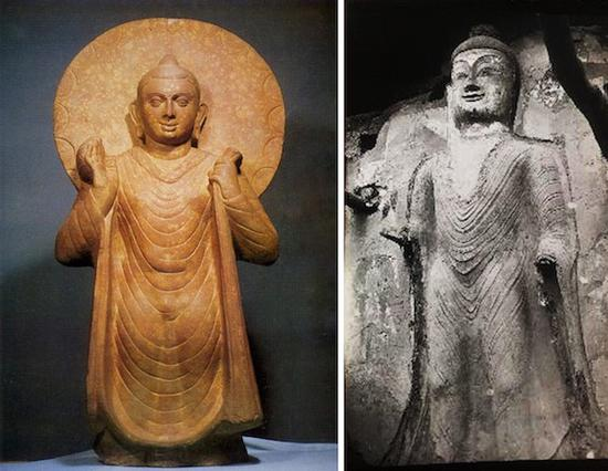 U字立佛像,秣菟罗博物馆藏(左) 炳灵寺立佛像(右)