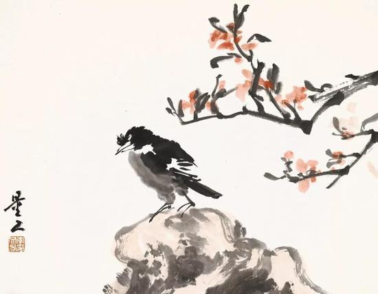 李文亮 花鸟 34cm×45cm 纸本水墨 2018年