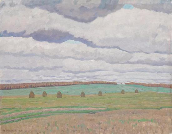 西多罗夫《十月》布面油画 69×88cm 1973年