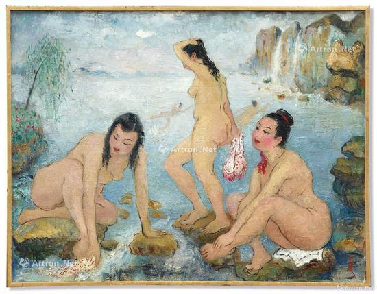 潘玉良《海边五裸女》油画画布 50x65cm约1958年作 成交价:2768.4万港元