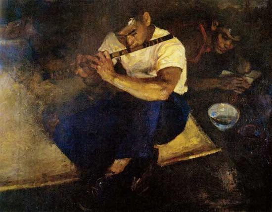俞云阶,《笛声》,60×80cm,布面油画,1958年