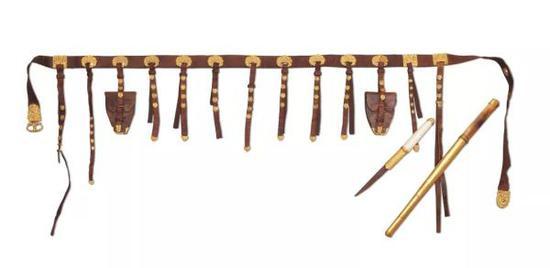唐 狩猎纹金蹀躞带 内蒙古博物院藏,内蒙古自治区锡林郭勒盟苏尼特右旗出土
