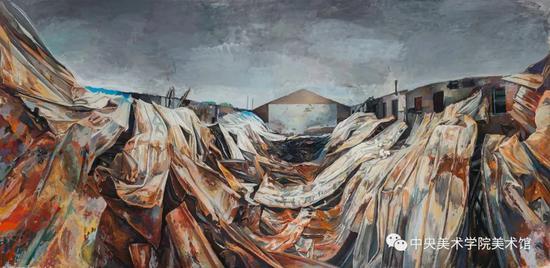 陆亮,《记忆场—空白的青春》 286x602cm 布面油画 2016-2017