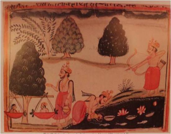 波斯语译《罗摩衍那》两种彩绘本中的睒子故事图