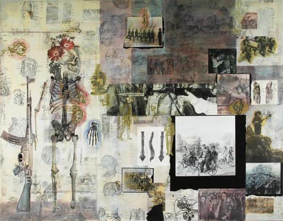 朱湘 图像日志·幽灵的枪 图像丙烯、图像(书籍)拼贴 、油漆笔 140x110cm 2018