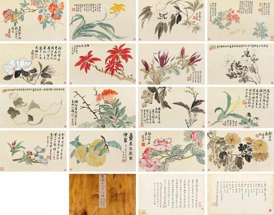 吴大澂 仿古花卉十六帧册 册页(十六开) 设色纸本、水墨纸本 画:20.2×35.7 cm(每幅) 字:26×39.5 cm(每幅) 成交价:RMB 5,175,000