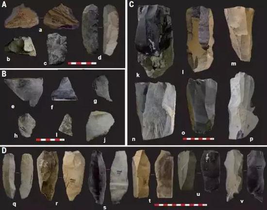 研究人员发现的尼阿底石器,显示了剥制石叶的技术特点和过程。图/国家文物局
