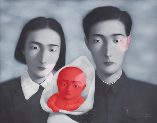 张晓刚《血缘系列9号-大家庭》油画画布