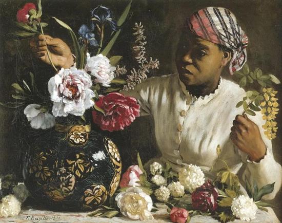 巴齐耶《黑女人和牡丹》,布面油画,1870年