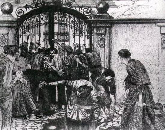 《织工的反抗》 第六福《突击》(Sturm) 铜刻版画 24×29