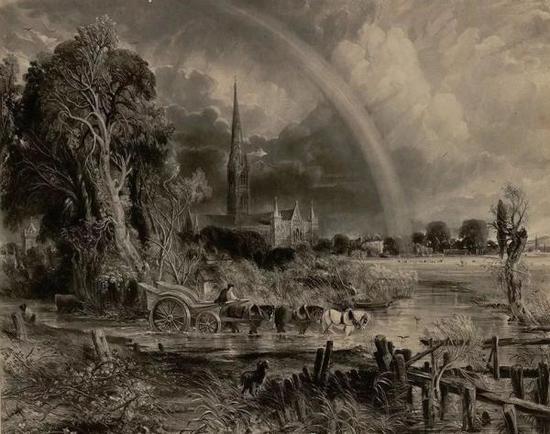 约翰·康斯太勃尔,《彩虹下的索尔兹伯里大教堂》,美柔汀版画
