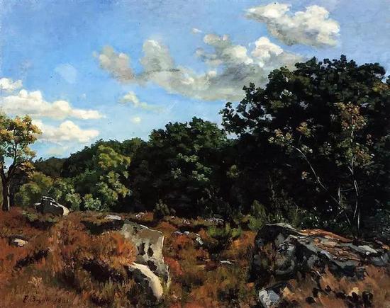 巴齐耶《舍依的风景》,布面油画,1865年