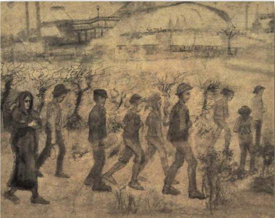 梵高《雪中矿工》(Miners in the Snow )素描 1880年 网络图