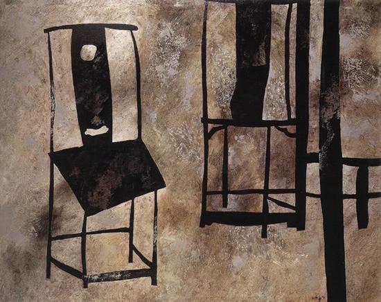 王怀庆《双椅》油彩画布,99×129.5cm,1989-1991 年作