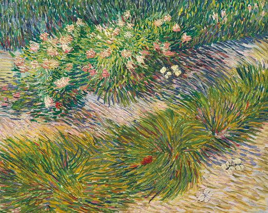 文森特·梵高《有繁花与蝴蝶的花园一角》油彩 画布 50.4 x 61.4 cm 1887年