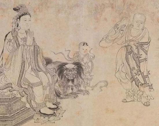 《维摩演教图》局部 作者不明 但一直以来都被传为李公麟作品