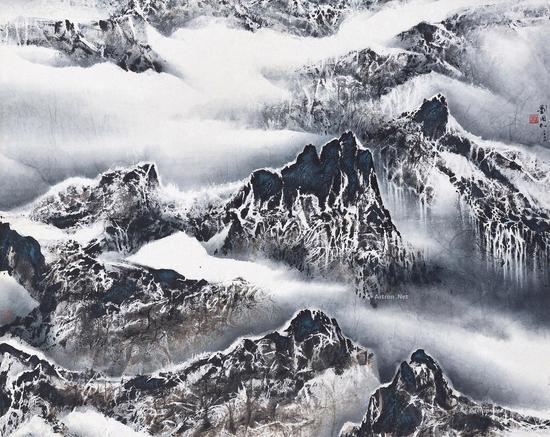 刘国松 2002年作 云与山的游戏 设色纸本