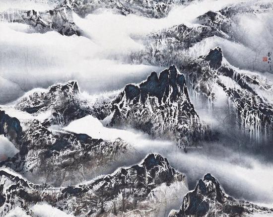NO.42刘国松2002年作 云与山的游戏