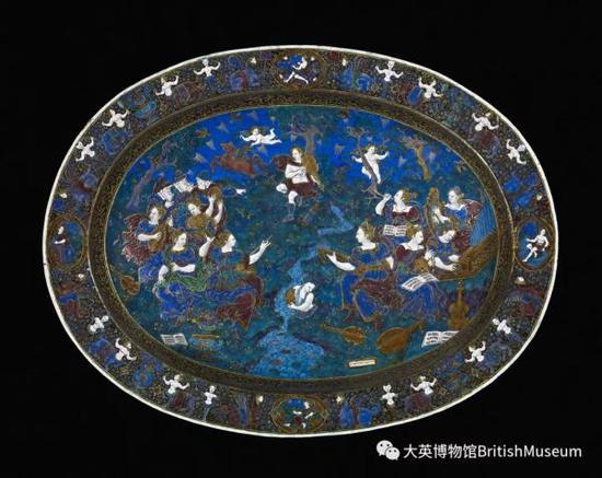 鎏金铜胎画珐琅盘,法国里蒙,约1600年