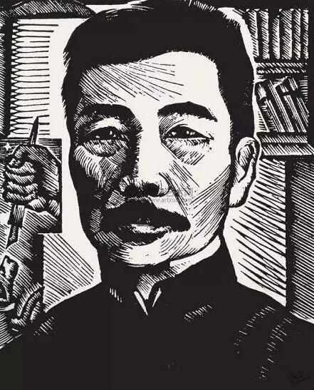 力群1936年创作的版画鲁迅肖像