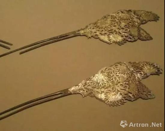 唐 永泰公主墓出土鎏金银钗