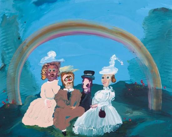 """Under the Rainbow,31"""" x 39"""",Acrylic on canvas,2018"""