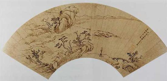 图6 薛素素 溪桥独行图 扇面 金笺 纵15.5厘米 横48.2厘米 故宫博物院