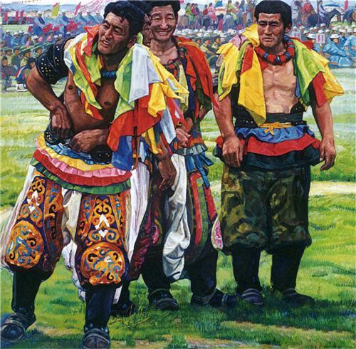 《军民共庆那达慕》180×160cm 2004年