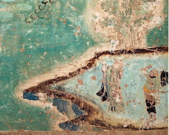 榆林窟第二窟西壁北侧水月观音图中的唐僧取经图(复制品) 谢继胜拍摄