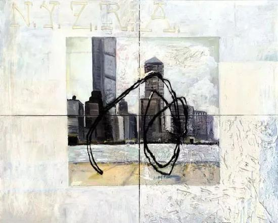 马丁�q基彭伯格《纽约天际线》(NYZRA),155x180cm,1985