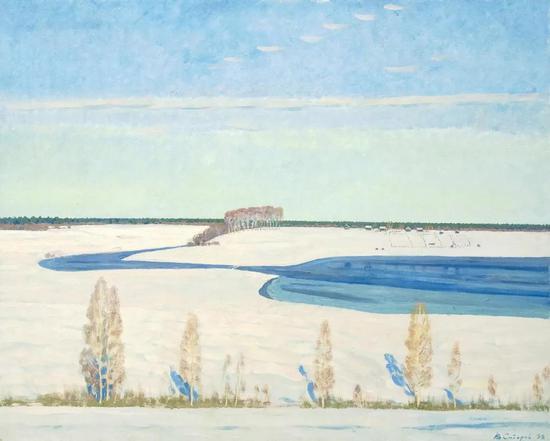 西多罗夫《冬日暖阳》布面油画93×112cm 1998