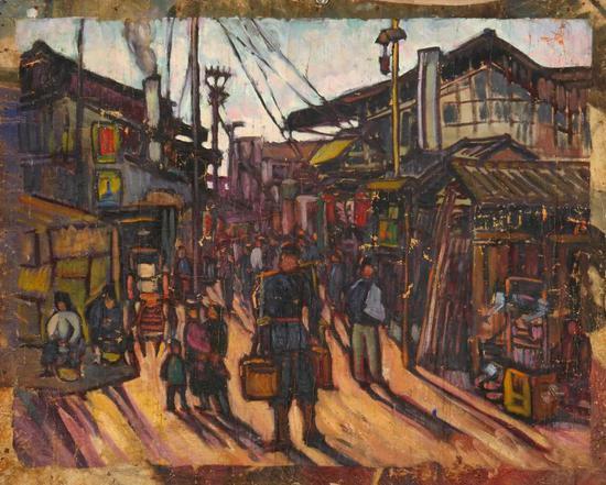 王子云  小镇之晨 布面油彩 59.5x72cm 1928年
